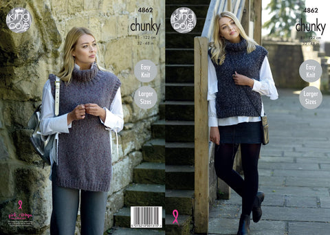 Ladies Tabards in King Cole Indulge Chunky (4862)