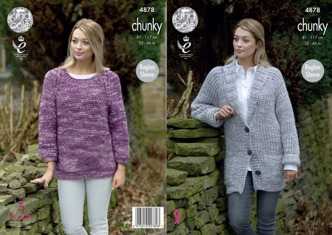 Jacket & Sweater Knitted In King Cole Big Value Tonal Chunky (4878)
