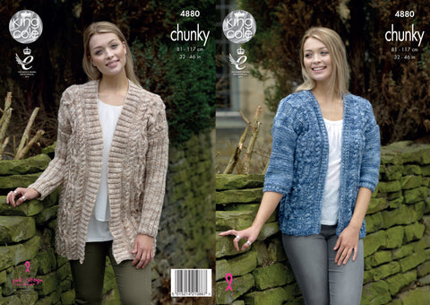 Jackets Knitted In King Cole Big Value Tonal Chunky (4880)