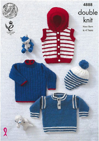Sleeveless Hoody, Sweaters and Hat in King Cole DK (4888)