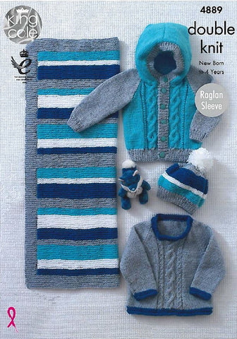 Sweater, Jacket, Hat and Blanket in King Cole DK (4889)