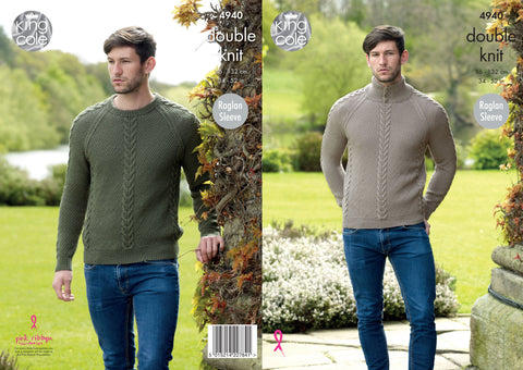 Cable Panel Sweaters Knitted In King Cole Luxury Merino DK (4940)