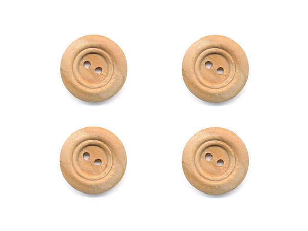 Rimmed  Round Buttons - Wood - 097