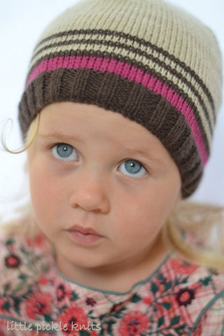 4ply Stripy Beanie by Linda Whaley - Digital Version