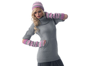 Cowl Neck Sweater Dress, Fingerless Gloves and Hat by Jenny Watson in Deramores Studio DK (5011)