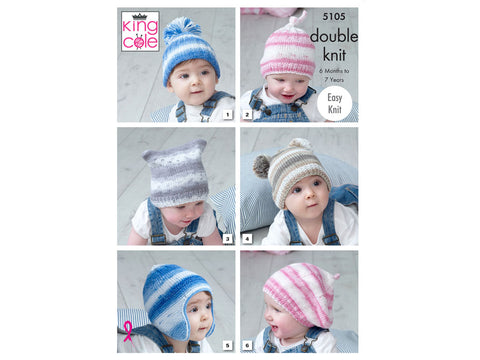 Babies Hats in King Cole Cottonsoft Baby Crush DK (5105)