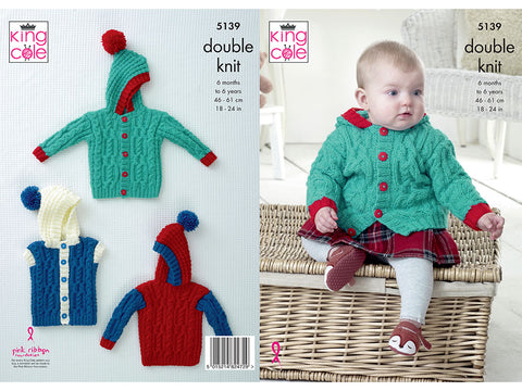 Jacket, Sweater & Gilet in King Cole Big Value Baby DK (5139K)