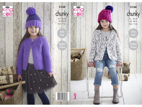 Cardigans and Hats in King Cole Comfort Chunky and Comfort Multi Chunky (5168)