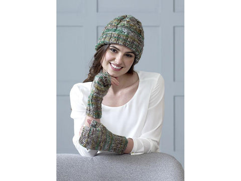 Sweater, Fingerless Mittens & Hat in King Cole Shadow Chunky (5186K)