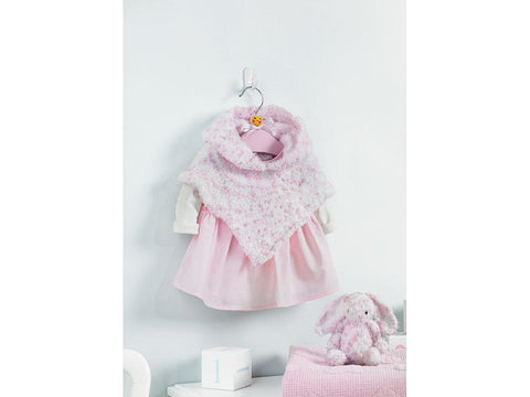 Baby Girl's Hooded Poncho and Bunny Soft Toy in Sirdar Snuggly Snowflake DK (5198)