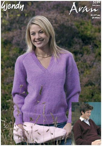 V Neck Raglan Sweater in Wendy Aran with Wool (5199) Digital Version