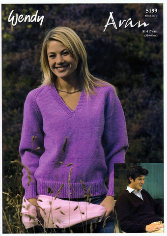 V Neck Raglan Sweater in Wendy Aran with Wool (5199)