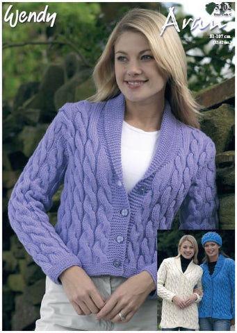 Cable Jackets and Hat in Wendy Aran with Wool (5202) Digital Version