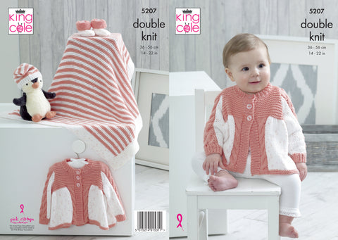 Matinee Coat, Blanket, Hat & Bootees in King Cole Cottonsoft DK & Cottonsoft Candy DK (5207K)