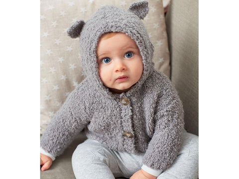 Baby's Bear Ears Cardigan in Sirdar Snuggly Bouclette (5253S)