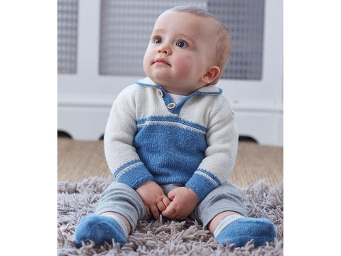 Boy's Sweater & Booties in Sirdar Snuggly 100% Merino 4ply (5263S)