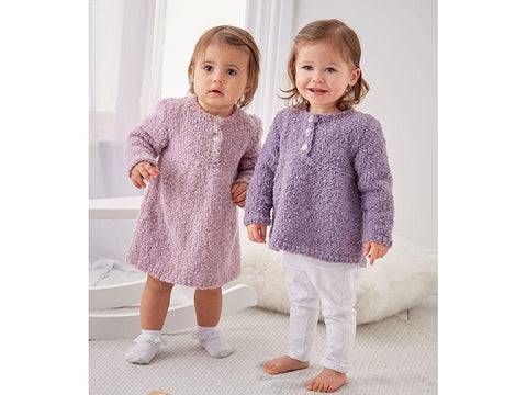 Girl's Dress and Sweater in Sirdar Snuggly Bouclette (5312)