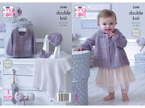Matinee Jacket, Hat, Shoes & Blanket in King Cole Finesse Cotton Silk DK (5340K)