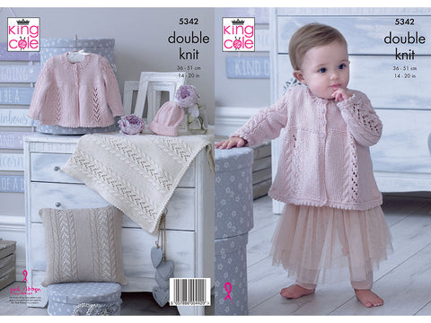 Matinee Jacket, Hat, Cushion & Blanket in King Cole Finesse Cotton Silk DK (5342K)