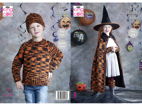 Sweater, Wrist Warmers, Hat, Leg Warmers, Cape and Pumpkin in King Cole Glitz DK (5399K)