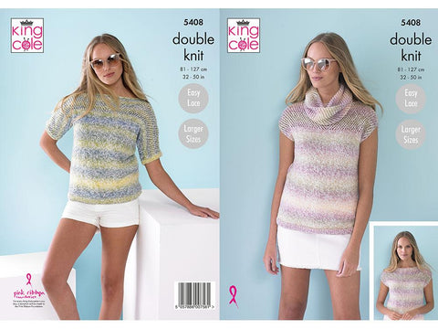 Ladies Tops & Snood in King Cole Caribbean Calypso DK (5408)
