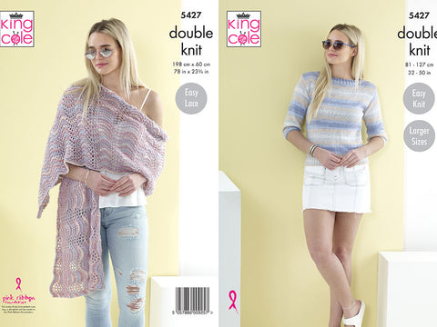 Ladies Sweater & Shawl in King Cole Beaches DK (5427)