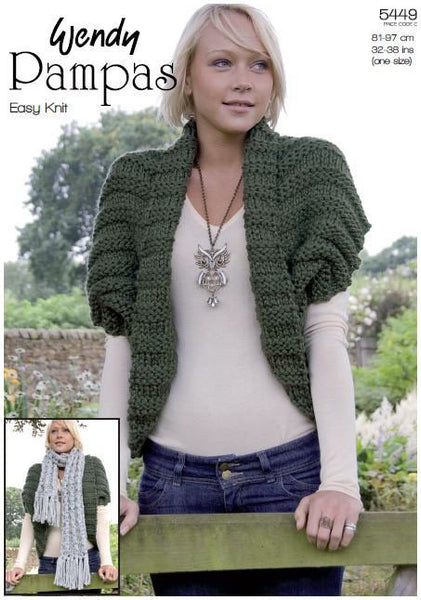 Bolero & Scarf in Wendy Pampas Mega Chunky (5449) Digital Version