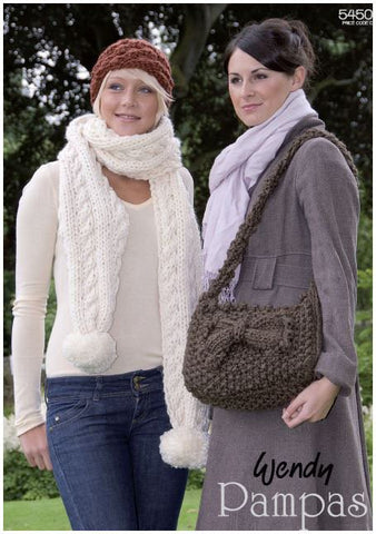 Bag, Scarf and Hat in Wendy Pampas Mega Chunky (5450) Digital Version