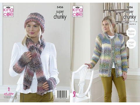 Cardigan, Scarf, Hat & Wrist Warmers in King Cole Explorer Super Chunky (5456K)