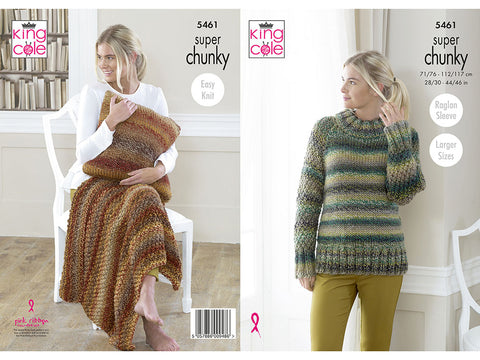 Sweater, Throw and Cushion in King Cole Explorer Super Chunky (5461K)
