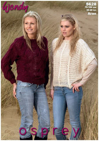 Cable and Batwing Sweaters in Wendy Osprey Aran (5628) Digital Version