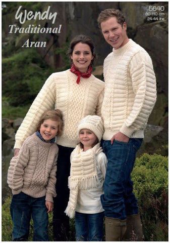 Family Sweaters, Hat and Scarf in Wendy Aran with Wool (5640) Digital Version
