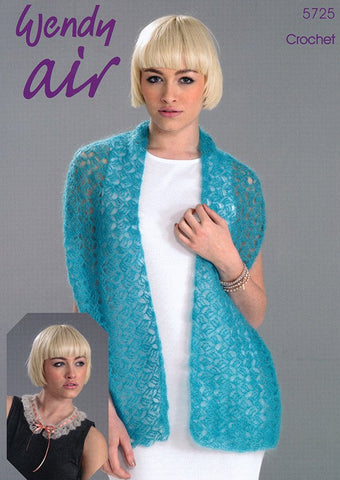 Crochet Shawl and Collar in Wendy Air (5725) Digital Version