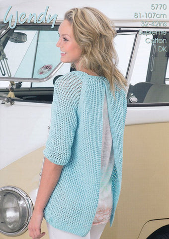 Open Back Sweater in Wendy Supreme Cotton DK (5770w)