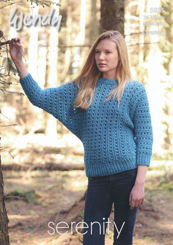 Batwing Sweater in Wendy Serenity Chunky (5835)