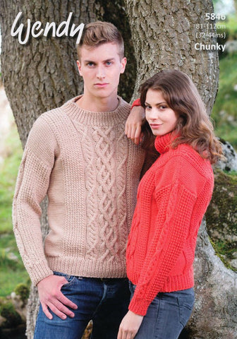 Unisex Cable Sweaters in Wendy Merino Chunky (5846)