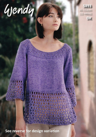 Flared Top and Tunic in Wendy Supreme Cotton Silk DK (5893)