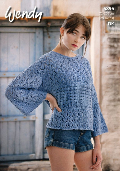 Boxy T-Shaped Sweater in Wendy Supreme Cotton Silk DK (5896)