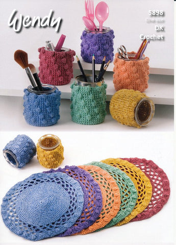 Crochet Place Mats and Pot Covers in Wendy Supreme Cotton Silk DK (5898)