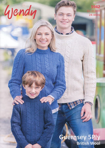 Sweater in Wendy Guernsey 5 Ply (5942)