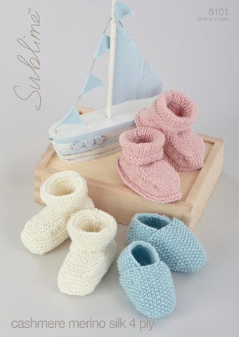 Baby Shoes and Bootees in Sublime Baby Cashmere Merino Silk 4 Ply (6101)