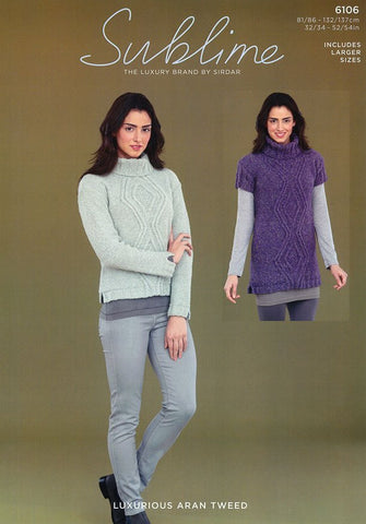 Womens Long Sleeved Sweater and Short Sleeved Sweater Dress in Sublime Luxurious Aran Tweed (6106)