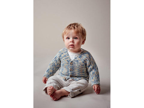 Baby Boy's V Neck Cardigan in Sublime Baby Cashmere Merino Silk DK Prints (6144)