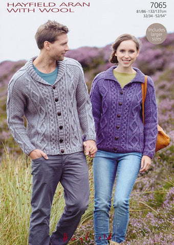 Flat Collar & Shawl Collar Cardigans in Hayfield Aran with Wool (7065)
