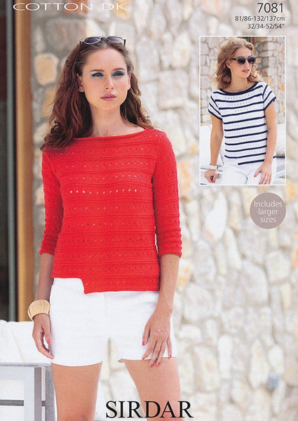 Boat Necked Tops in Sirdar Cotton DK (7081)