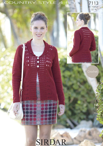 Womens Shawl-Collar Crochet Cardigan in Sirdar Country Style 4 Ply (7113)