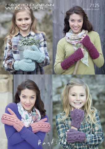 Moss-Stitch and Cabled Mittens, Cabled and Diagonal Pattern Wrist-warmers in Hayfield Aran With Wool (7125)