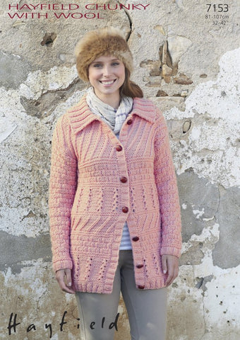 Womens Longline Flat-Collared Coat in Hayfield Chunky with Wool (7153)