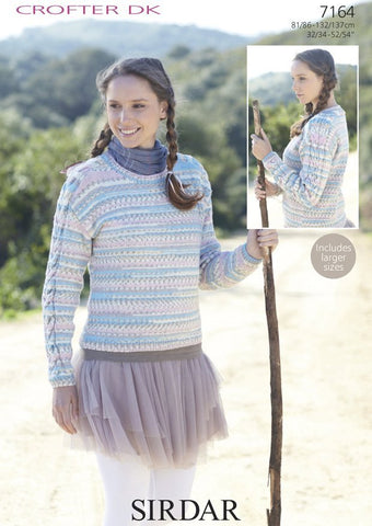 Womens Cable Sweater in Sirdar Crofter DK (7164)
