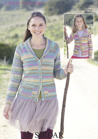 Womens V-Neck and Shawl Collared Cardigan in Sirdar Crofter DK (7166)